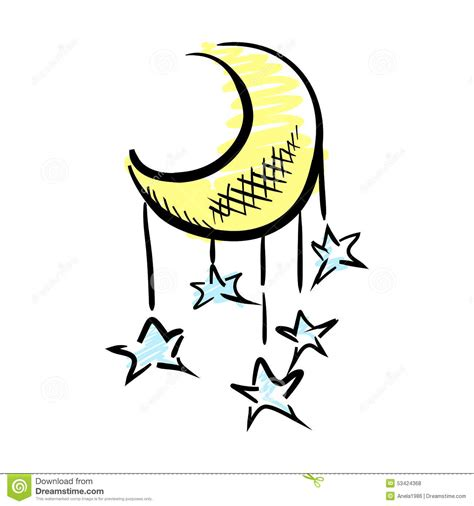moon and stars stock vector image 53424368