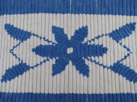 Blue And White Bathroom Rugs Vintage Cotton Chenille Throw Rug Or Bath Mat Blue White Flower