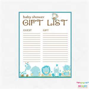 Printable Baby Shower Gift List Template Safari Baby Shower Gift List Printable From Ohbabyshower On