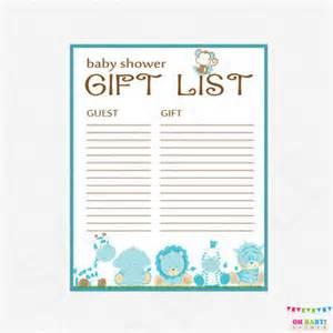 safari baby shower gift list printable from ohbabyshower on