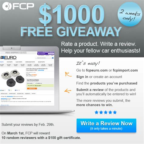 The Review And Give Away Contest by Fcp Review Contest 1000 Giveaway