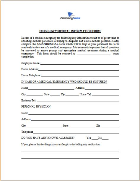 emergency medical information form word excel templates