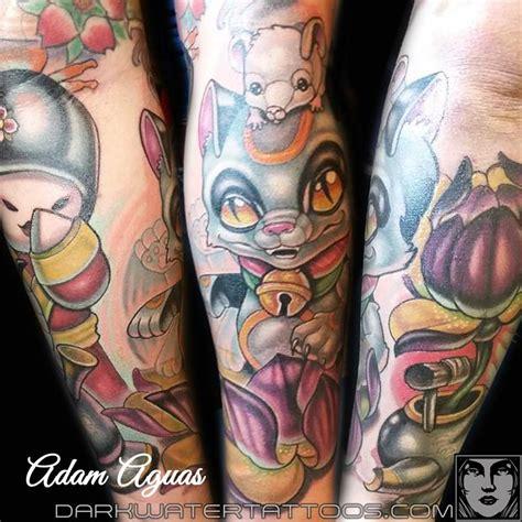 tattoo cat neko dark water tattoos