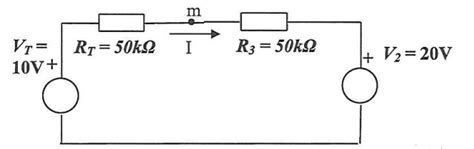resistor direction in circuit current direction of resulting i through simple circuit with 2 voltage sources separated by 2
