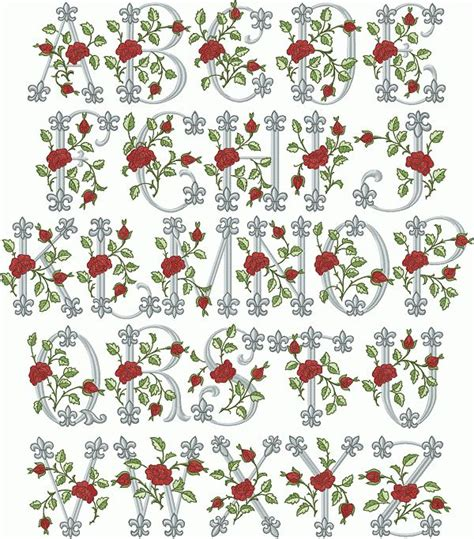 Rose Pattern Font | embroidery alphabet fonts royal rose font machine