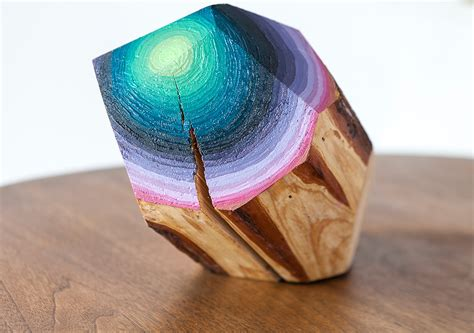 painted wooden wood blocks carved and painted into glimmering gemlike