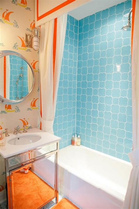 Simple blue wall decor in bathtub and interesting white orange curtain and wallpaper dweef com