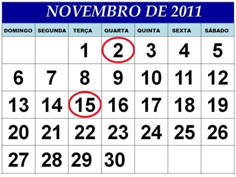 Calendario Novembro Calend 193 Novembro 2011 Feriados E Datas Comemorativas