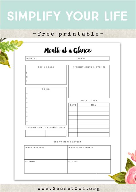 month at a glance printable my blog