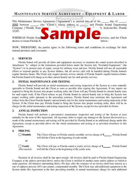Annual Maintenance Contract Sle Letter Maintenance Contract Template 4 Free Templates In Pdf Word Excel