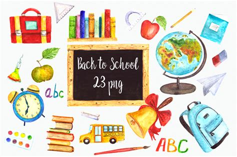 back to school clipart watercolor back to school clip set design bundles