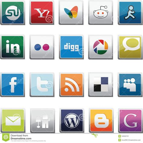 Social Network Search Social Network Buttons Set Editorial Photo Image 34552131