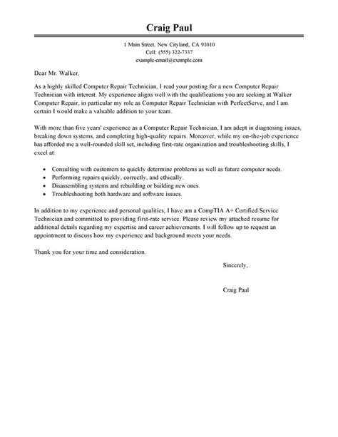 computer repair technician cover letter exles