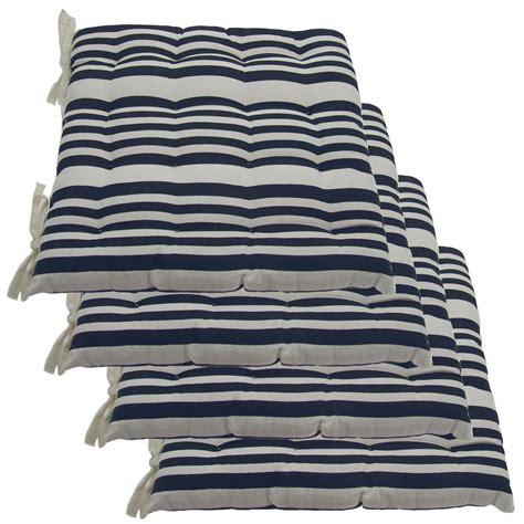 set of 4 cotton indoor reversible chair pads ties