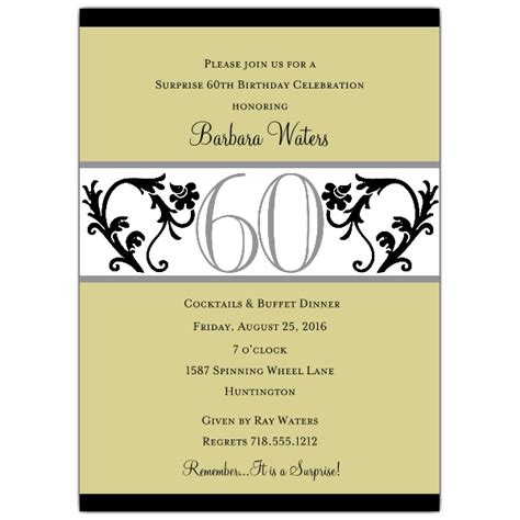 60th birthday invitation templates vine chartreuse 60th birthday invitations paperstyle