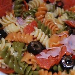 tri color pasta salad with italian dressing tri color pasta salad recipe allrecipes