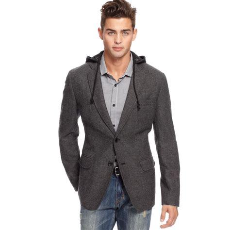 Blazer Hoodie American Rag Tweed Sport Jacket Hoodie In Gray For Lyst