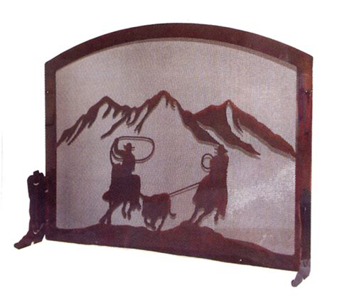 western furniture team ropers fireplace screen lone