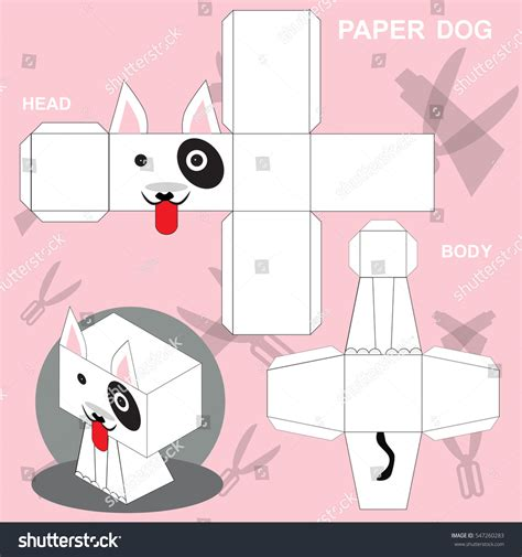dog paper craft template stock vector 547260283 shutterstock
