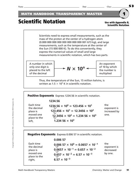 Operations With Scientific Notation Math Handbook Transparency Worksheet Answers