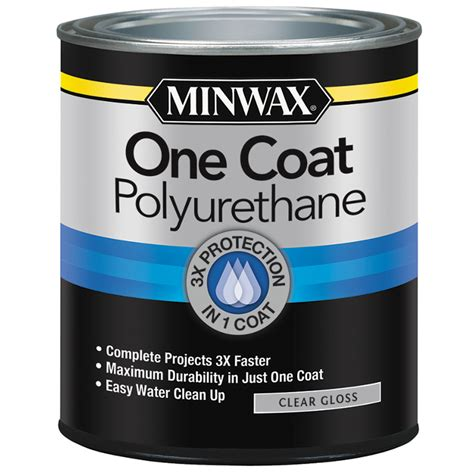 shop minwax one coat polyurethane gloss water based 32 fl oz polyurethane at lowes com