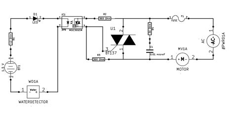 triac design application notes water pump with opto isolator moc3063m and triac bt137