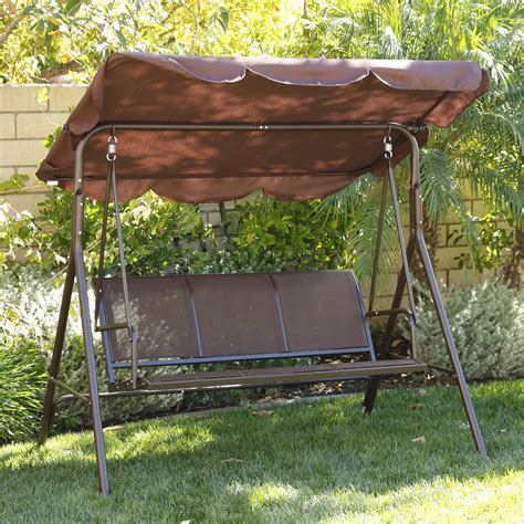 outdoor swing bench with canopy 3 person patio swing adjustable canopy awning outdoor