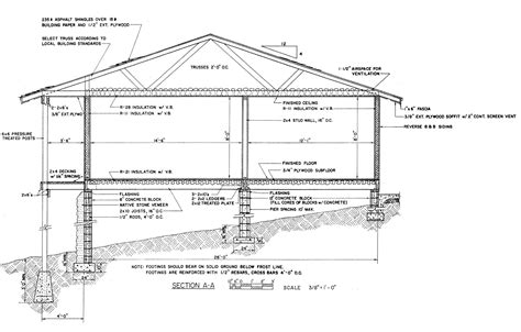 section of a house plan residential foundation sections house foundation section