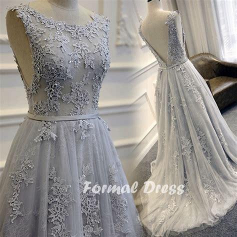 light grey prom dresses formal dress gray prom dress a line lace long evening
