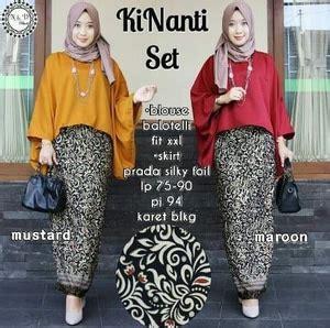Nr Setelan Baju Wanita Kebaya Batik Batwing baju setelan kebaya wanita atasan batwing dan rok motif batik modern