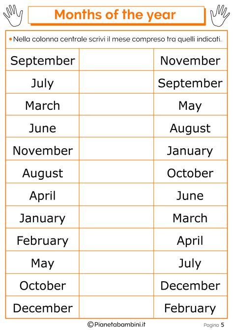 fino a quanti mesi i mesi in inglese per bambini schede didattiche da