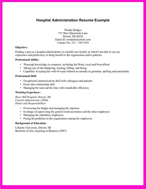 hospital resume exles exle for hospital administration resume exle for