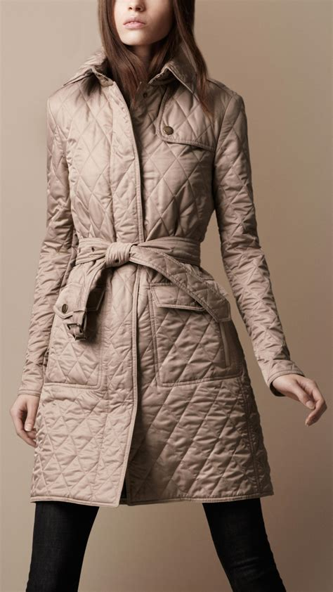 burberry brit quilted trench coat in beige new chino lyst