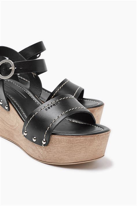Esprit Leather esprit leather platform sandal with a wedge heel at our