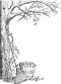 fall tree color page free coloring pages of autumn borders