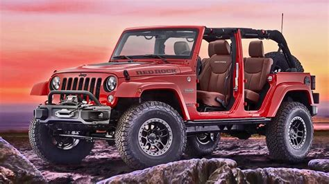 red jeep 2017 jeep wrangler red rock concept interior exterior