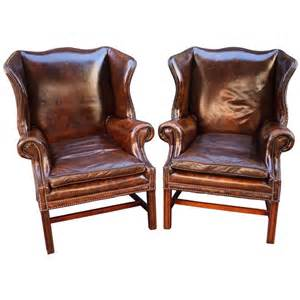 Recliner Armchair Pair Of English Leather Wingback Chairs Sold Individually