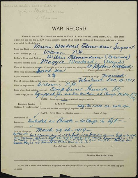 World War Records World War I Records Now Available From Wilson County Library 183 Digitalnc