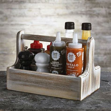Decoration Sauce By Kimkim Shop wooden table caddy white rectangular condiment sauce