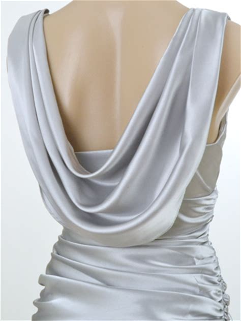 Long Draped Dress Vintage Inspired Silver Satin Draped Back Evening Gown