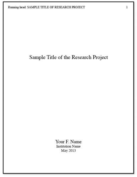 Exles Of Cover Pages For Essays by Apa Title Page