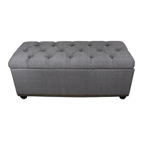grey ottoman bench 18 in tufted grey storage bench and 3 ottoman seating hb4503 the home depot