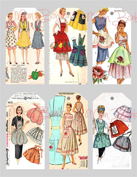 sewing pattern to download digital collage sheet of vintage sewing pattern aprons tags