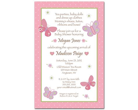 Invitation Template For Baby Shower by Butterfly Baby Shower Invitations Theruntime
