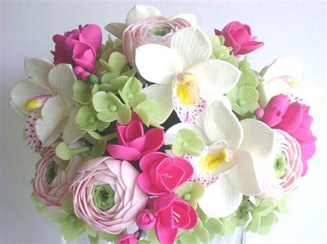Carset 3 In Hug Flower Dress Hotpink wedding bouquet pink fresia cymbidium orchid