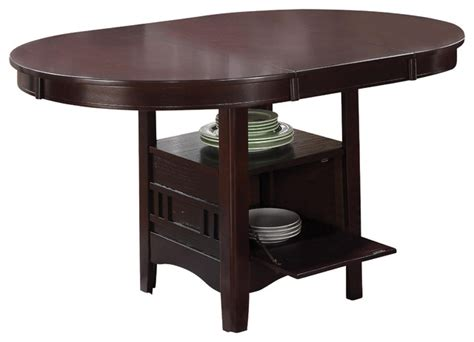 Espresso Kitchen Table Contemporary Espresso Lavon Oval Dining Table With Storage Leaf Dining Tables By Adarn