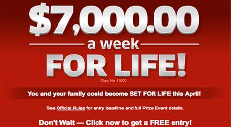 Pch For Life - pch 7 000 a week for life sweepstakes