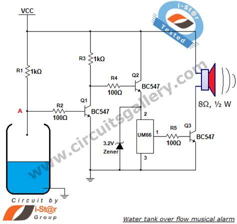 um66 based water tank over flow musical alarm circuit