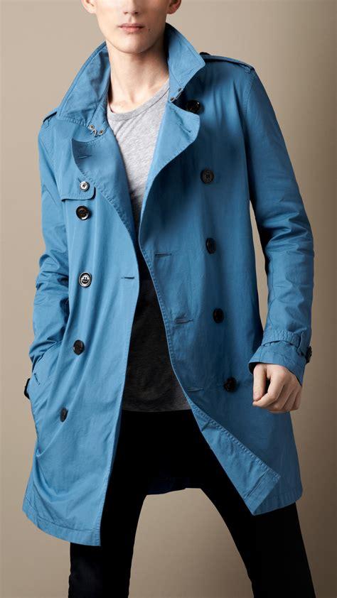 burberry brit mid length cotton gabardine trench coat