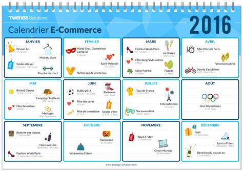 sle marketing calendar le calendrier marketing et e commerce de 2016
